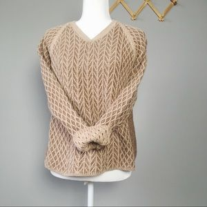 Vintage Tan 3D Knit V-Neck Sweater